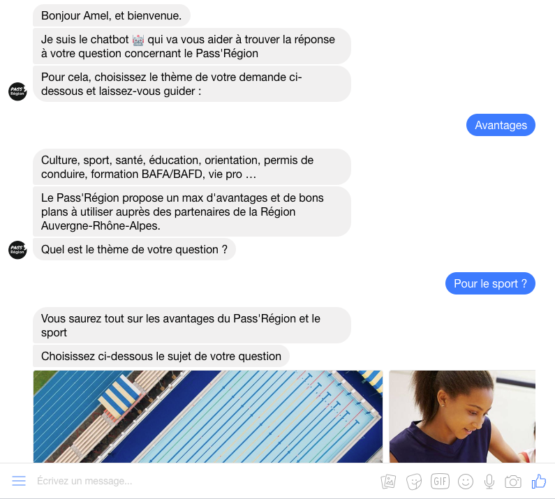 Pass region - Conversationnel - messenger